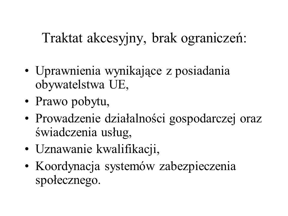 Traktat akcesyjny, brak ograniczeń: Uprawnienia wynikające z posiadania obywatelstwa UE, Prawo pobytu, Prowadzenie działalności gospodarczej oraz świa