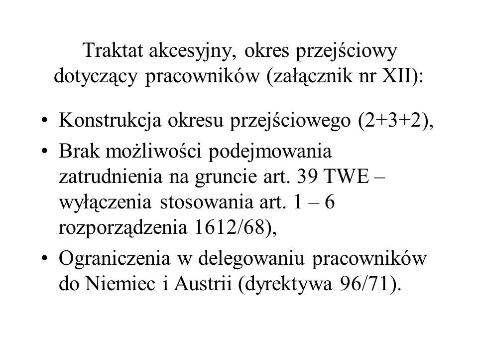Traktat akcesyjny, okres przejściowy dotyczący pracowników (załącznik nr XII): Konstrukcja okresu przejściowego (2+3+2), Brak możliwości podejmowania