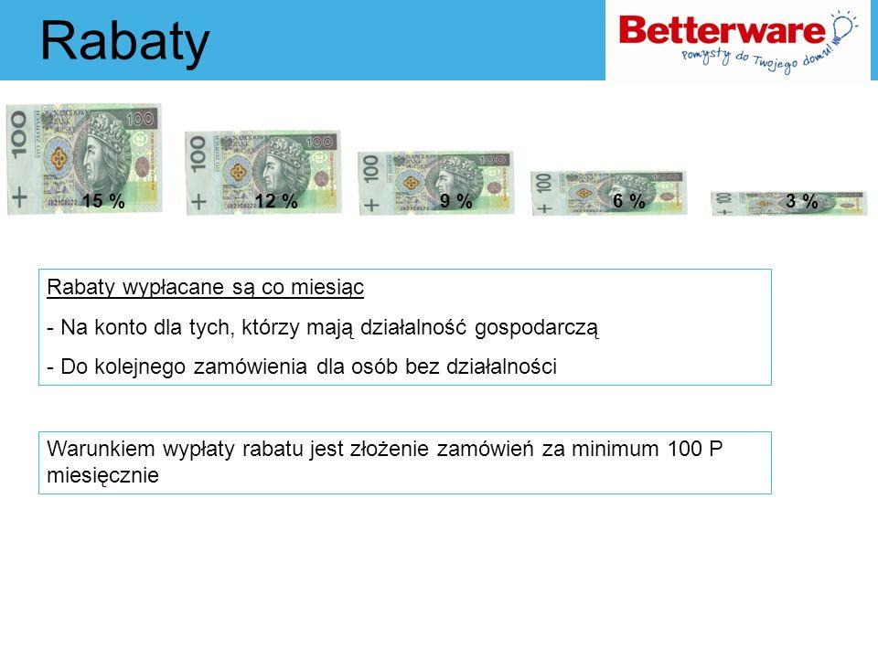 Rabaty 15 %12 %9 %6 %3 % Rabaty wypłacane są co miesiąc - Na konto dla tych, którzy mają działalność gospodarczą - Do kolejnego zamówienia dla osób be