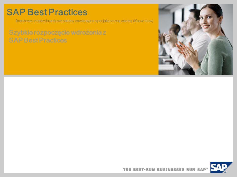 SAP Best Practices Branżowe i międzybranżowe pakiety zawierające specjalistyczną wiedzę (Know-How) Szybkie rozpoczęcie wdrożenia z SAP Best Practices