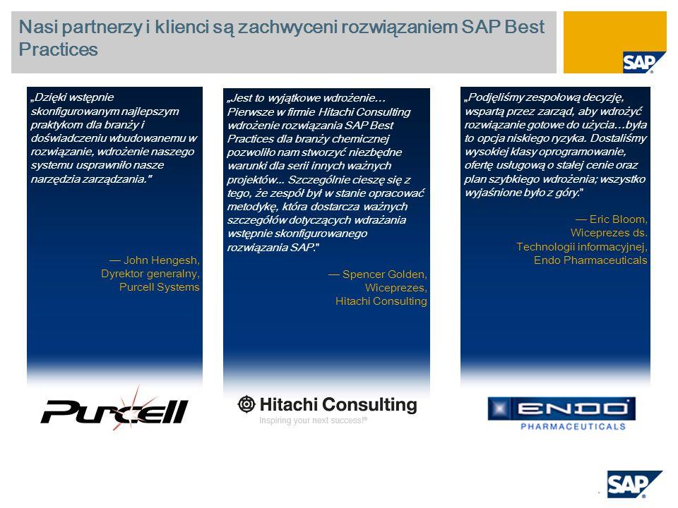 Nasi partnerzy i klienci są zachwyceni rozwiązaniem SAP Best Practices Jest to wyjątkowe wdrożenie… Pierwsze w firmie Hitachi Consulting wdrożenie roz