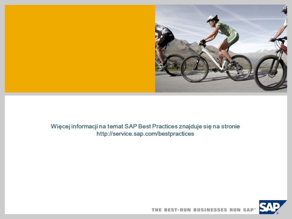 Więcej informacji na temat SAP Best Practices znajduje się na stronie http://service.sap.com/bestpractices