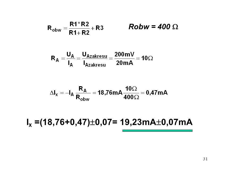 31 I x =(18,76+0,47) 0,07= 19,23mA 0,07mA Robw = 400