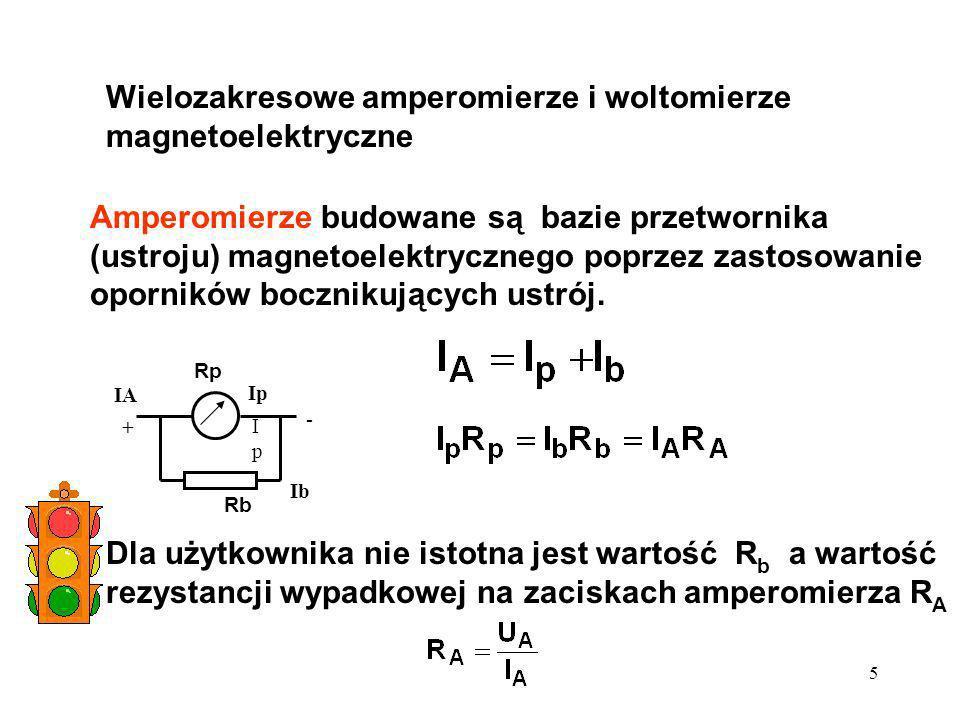 5 Wielozakresowe amperomierze i woltomierze magnetoelektryczne Amperomierze budowane są bazie przetwornika (ustroju) magnetoelektrycznego poprzez zast