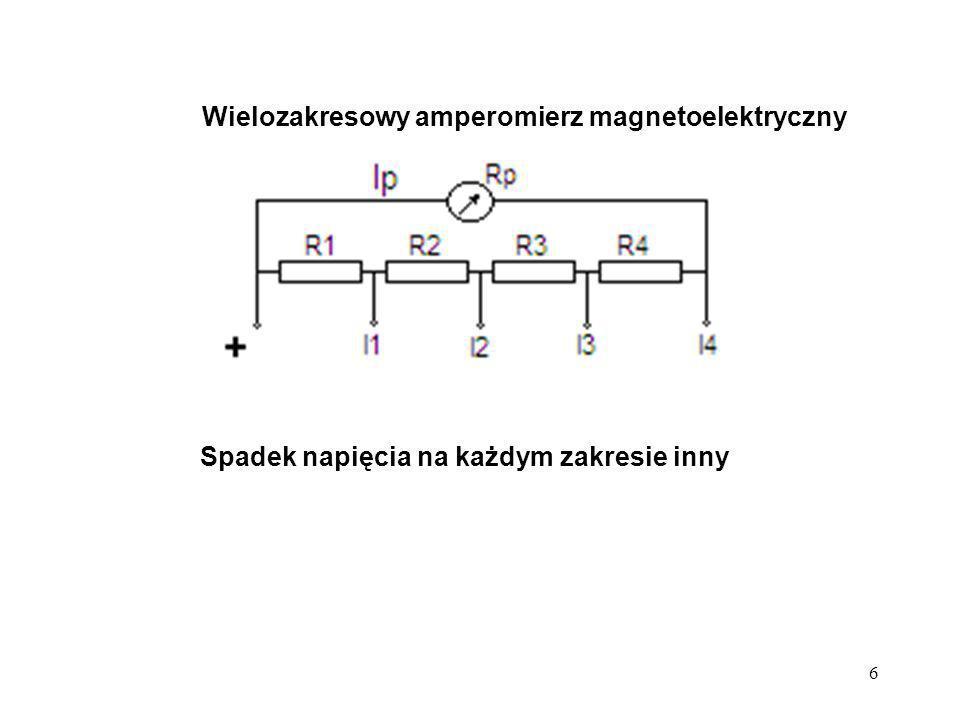 7 Wielozakresowy woltomierz magnetoelektryczny + U1 U2U3U4 Przetwornikiem prądu na napięcie opornik; warunkiem stałość tego opornika, niewrażliwość na zmianę warunków zewnętrznych- przede wszystkim temperaturę R1R2R3R4