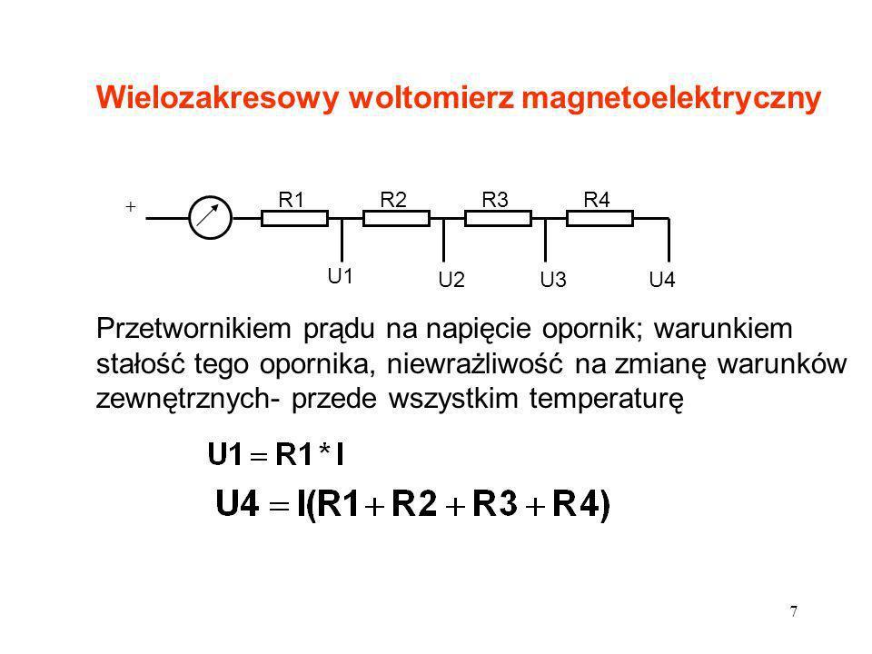 8 Dla użytkownika nie istotna jest wartość R1, R2, R3, R4, a wartość rezystancji wypadkowej na zaciskach woltomierza R V Dla każdego zakresu R V inne; dla woltomierzy magnetoelektrycznych wielozakresowych podawana rezystancja charakterystyczna w /V Podać wynik pomiaru napięcia Ux woltomierzem magnetoelektrycznym o zakresie 15V, 30działek,kl 0.5, rezystancji 1k /V, jeśli w układzie jak na rysunku woltomierz wskazał 25,75 działki.