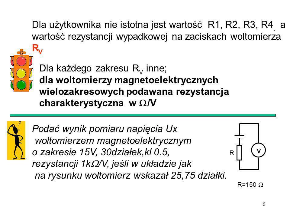 8 Dla użytkownika nie istotna jest wartość R1, R2, R3, R4, a wartość rezystancji wypadkowej na zaciskach woltomierza R V Dla każdego zakresu R V inne;