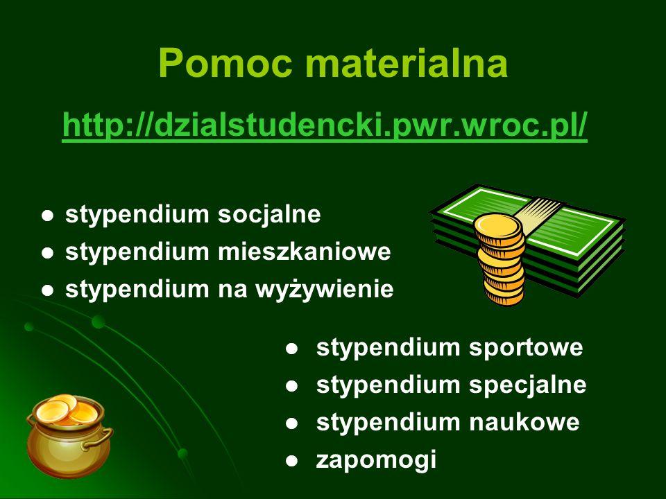 Pomoc materialna http://dzialstudencki.pwr.wroc.pl/ stypendium socjalne stypendium mieszkaniowe stypendium na wyżywienie stypendium sportowe stypendiu