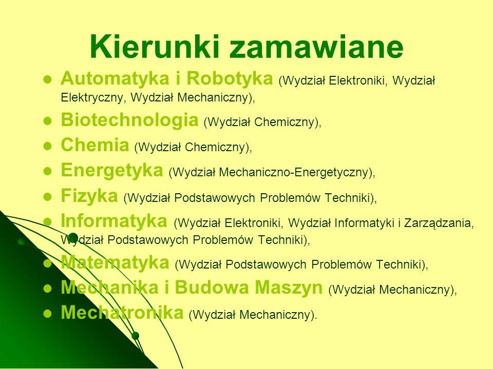 Kierunki zamawiane Automatyka i Robotyka (Wydział Elektroniki, Wydział Elektryczny, Wydział Mechaniczny), Biotechnologia (Wydział Chemiczny), Chemia (