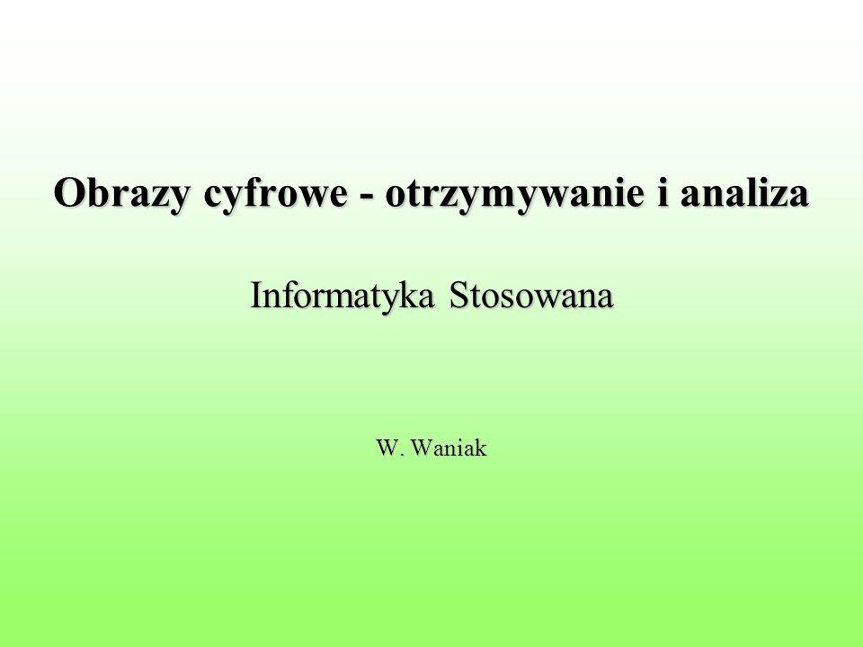 Obrazy cyfrowe - otrzymywanie i analiza Informatyka Stosowana W. Waniak