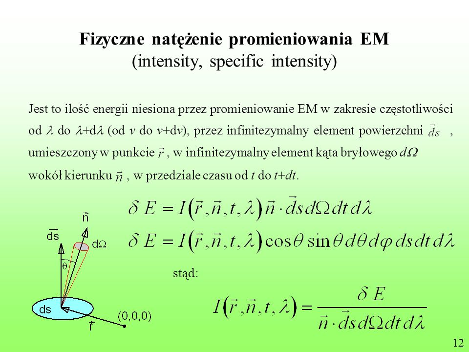 Fizyczne natężenie promieniowania EM (intensity, specific intensity) Jest to ilość energii niesiona przez promieniowanie EM w zakresie częstotliwości