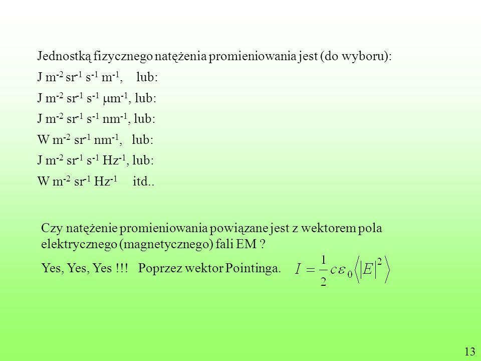 Jednostką fizycznego natężenia promieniowania jest (do wyboru): J m -2 sr -1 s -1 m -1, lub: J m -2 sr -1 s -1 nm -1, lub: W m -2 sr -1 nm -1, lub: J