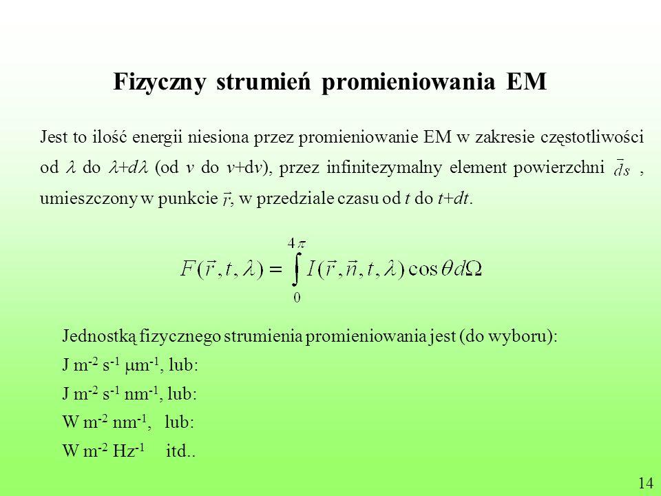 Fizyczny strumień promieniowania EM Jest to ilość energii niesiona przez promieniowanie EM w zakresie częstotliwości od do +d (od v do v+dv), przez in