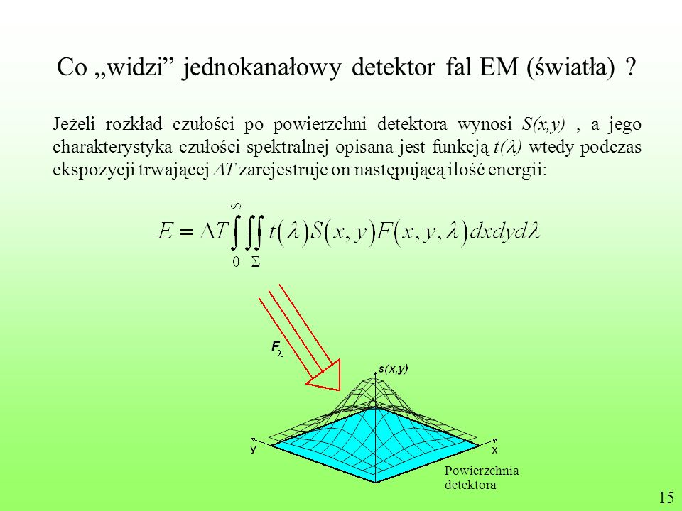 Co widzi jednokanałowy detektor fal EM (światła) ? Jeżeli rozkład czułości po powierzchni detektora wynosi S(x,y), a jego charakterystyka czułości spe
