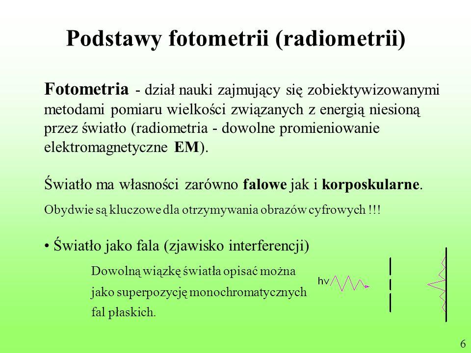 Podstawy fotometrii (radiometrii) Fotometria - dział nauki zajmujący się zobiektywizowanymi metodami pomiaru wielkości związanych z energią niesioną p