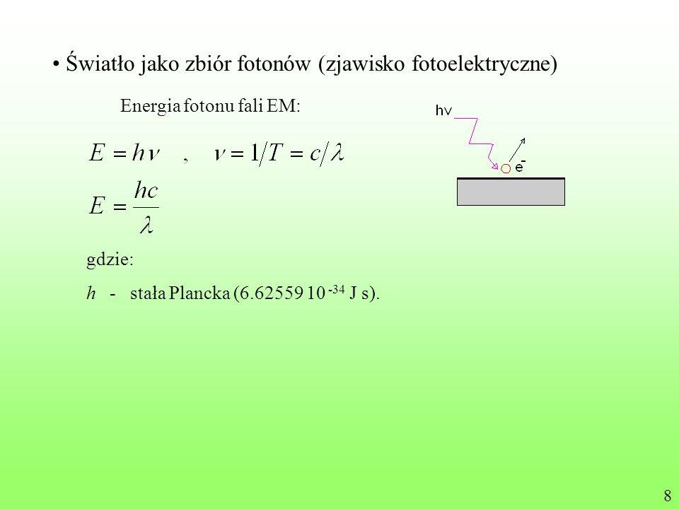 Światło jako zbiór fotonów (zjawisko fotoelektryczne) Energia fotonu fali EM: gdzie: h - stała Plancka (6.62559 10 -34 J s). 8