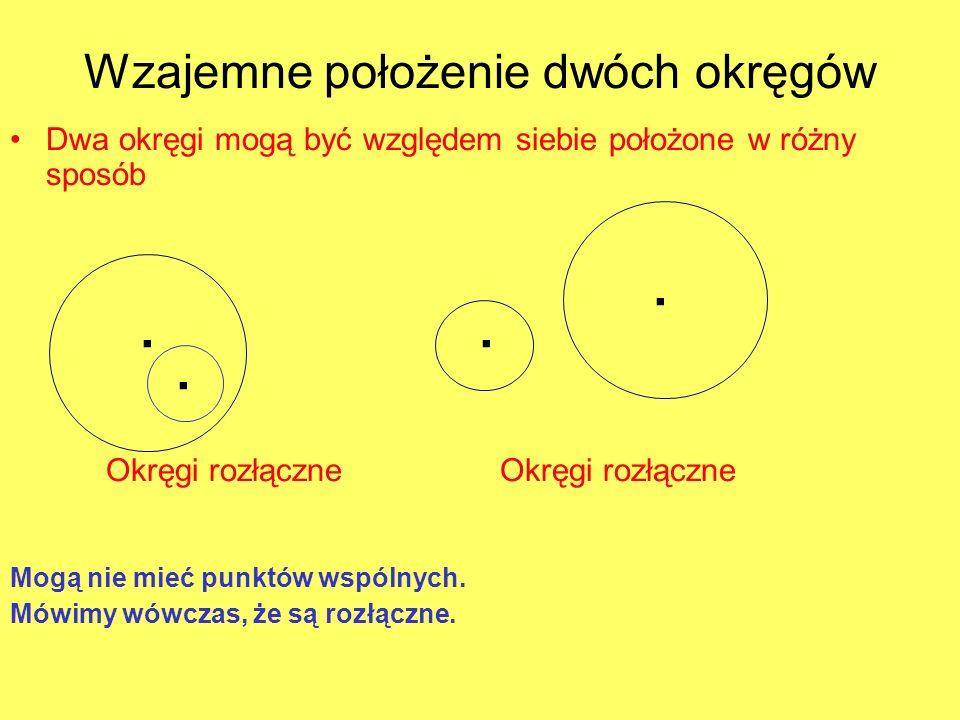 Wzajemne położenie dwóch okręgów Dwa okręgi mogą być względem siebie położone w różny sposób Okręgi rozłączne Mogą nie mieć punktów wspólnych. Mówimy