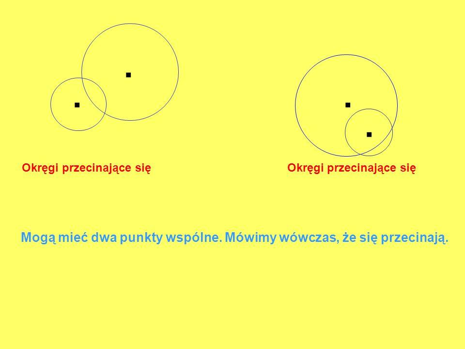 Okręgi przecinające się Okręgi przecinające się Mogą mieć dwa punkty wspólne. Mówimy wówczas, że się przecinają.