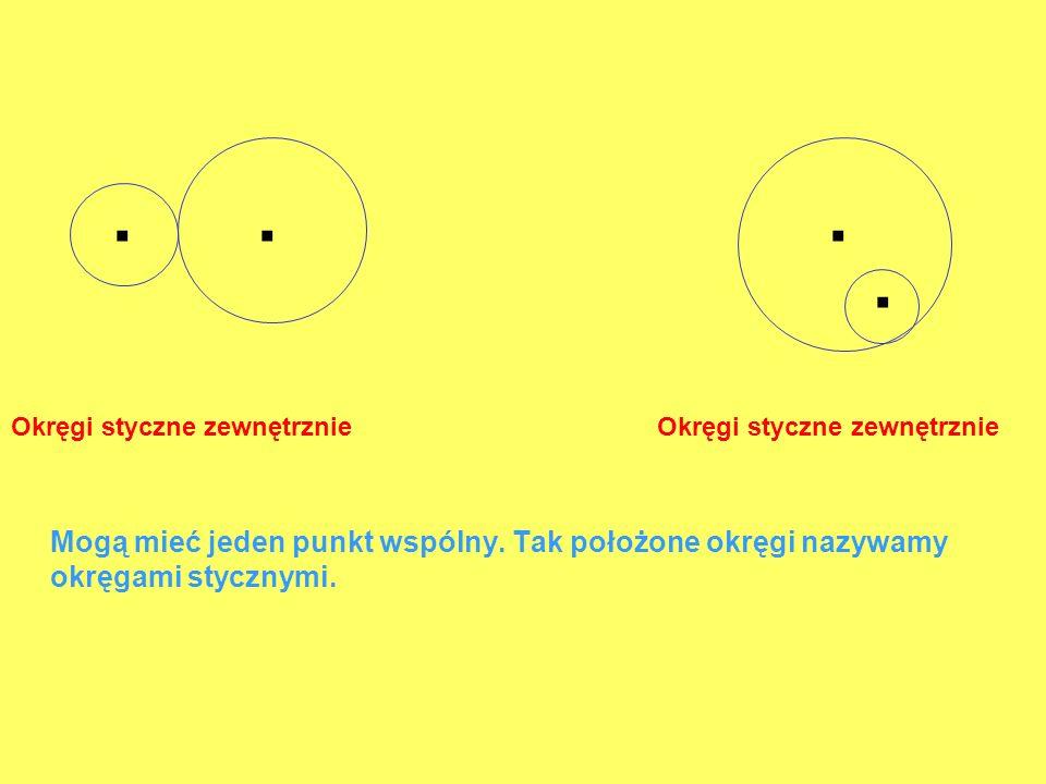Okręgi styczne zewnętrznie Mogą mieć jeden punkt wspólny. Tak położone okręgi nazywamy okręgami stycznymi.