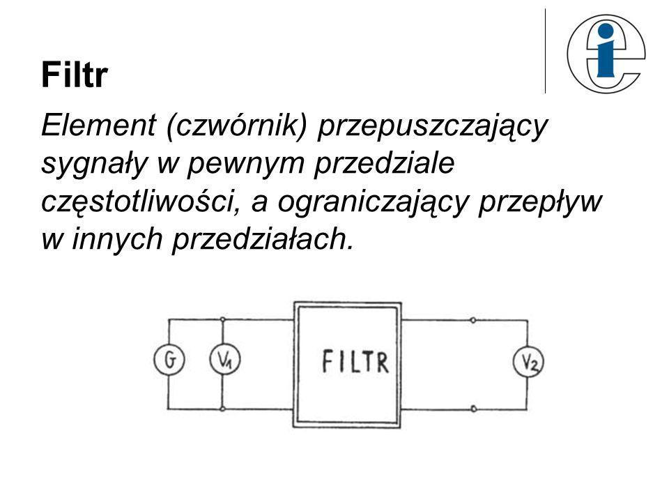 Filtr Element (czwórnik) przepuszczający sygnały w pewnym przedziale częstotliwości, a ograniczający przepływ w innych przedziałach.
