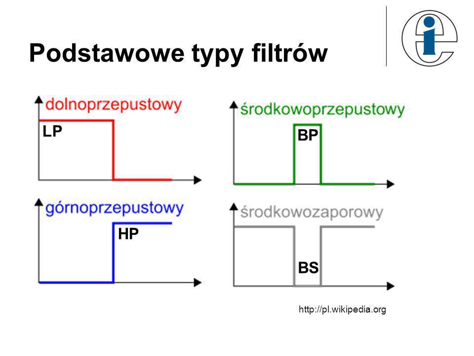15 Projektowanie filtrów SOI metodą okien czasowych f %MATLAB b=b.*hamming(51); [H,f]=freqz(b,1,512,2); plot(f,abs(H)),grid Okno Hamminga rząd filtru W programie Matlab opisaną procedurę projektowania filtrów implementuje instrukcja syntezy filtru FIR fir1