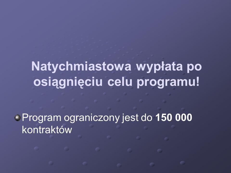 Natychmiastowa wypłata po osiągnięciu celu programu! Program ograniczony jest do 150 000 kontraktów
