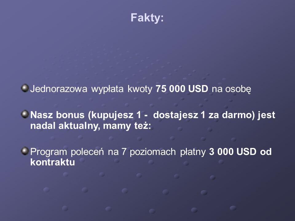Fakty: Jednorazowa wypłata kwoty 75 000 USD na osobę Nasz bonus (kupujesz 1 - dostajesz 1 za darmo) jest nadal aktualny, mamy też: Program poleceń na