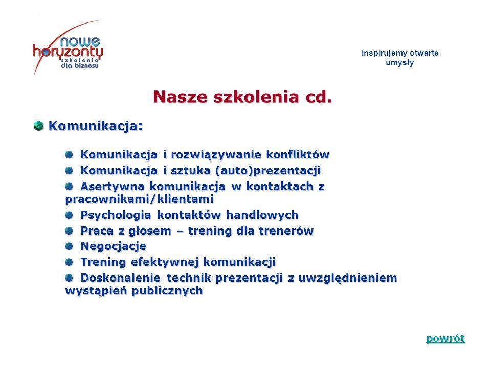 Nasze szkolenia cd. Inspirujemy otwarte umys ł y Komunikacja : Komunikacja : Komunikacja i rozwiązywanie konfliktów Komunikacja i rozwiązywanie konfli