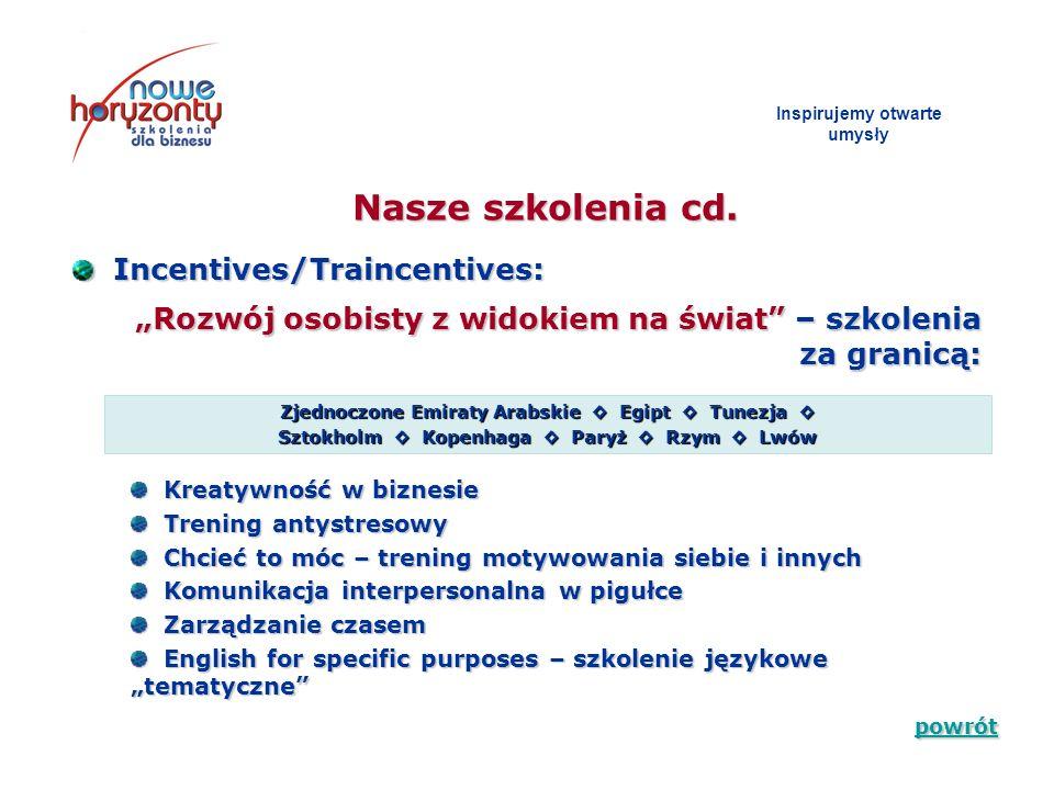Inspirujemy otwarte umys ł y Incentives/Traincentives: Incentives/Traincentives: Rozwój osobisty z widokiem na świat – szkolenia za granicą: Nasze szk