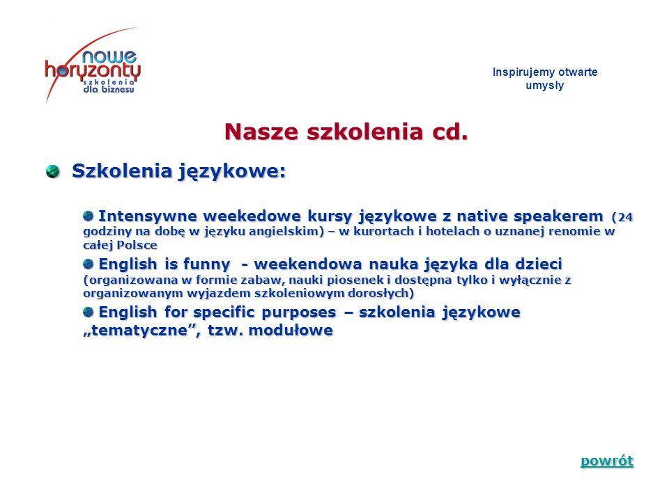 Inspirujemy otwarte umys ł y Szkolenia językowe: Szkolenia językowe: Nasze szkolenia cd. Intensywne weekedowe kursy językowe z native speakerem (24 go