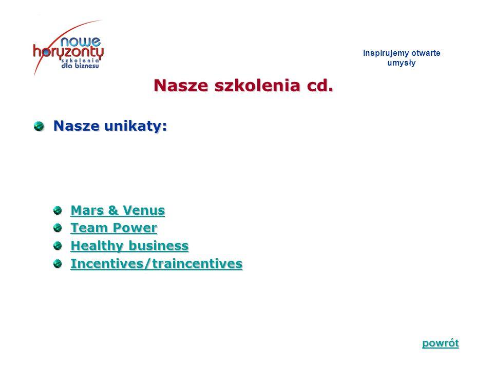 Nasze szkolenia cd. Inspirujemy otwarte umys ł y Nasze unikaty: Nasze unikaty: Mars & Venus Mars & VenusMars & VenusMars & Venus Team Power Team Power