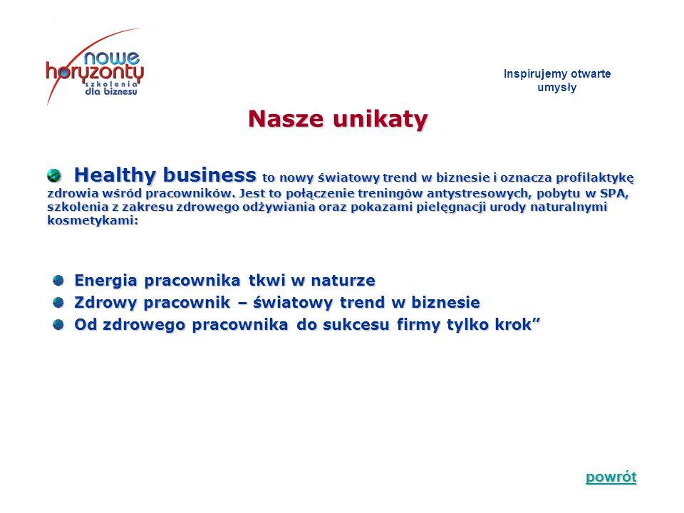 Nasze unikaty Inspirujemy otwarte umys ł y Healthy business to nowy światowy trend w biznesie i oznacza profilaktykę zdrowia wśród pracowników. Jest t