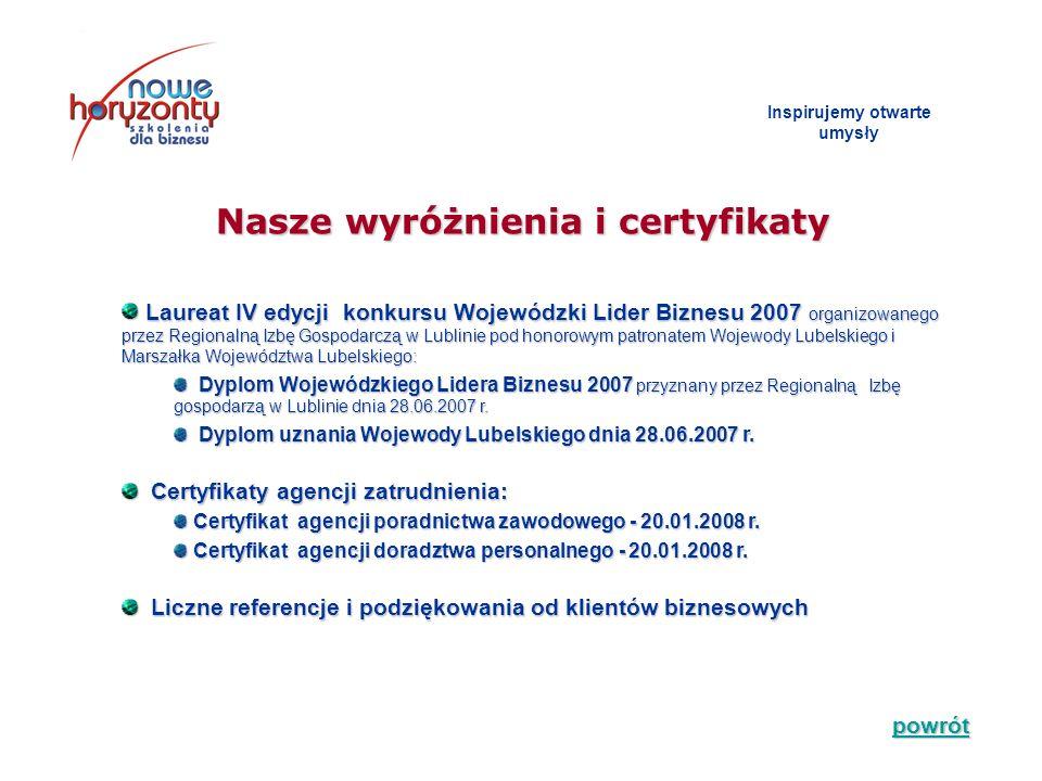 Inspirujemy otwarte umys ł y Laureat IV edycji konkursu Wojewódzki Lider Biznesu 2007 organizowanego przez Regionalną Izbę Gospodarczą w Lublinie pod