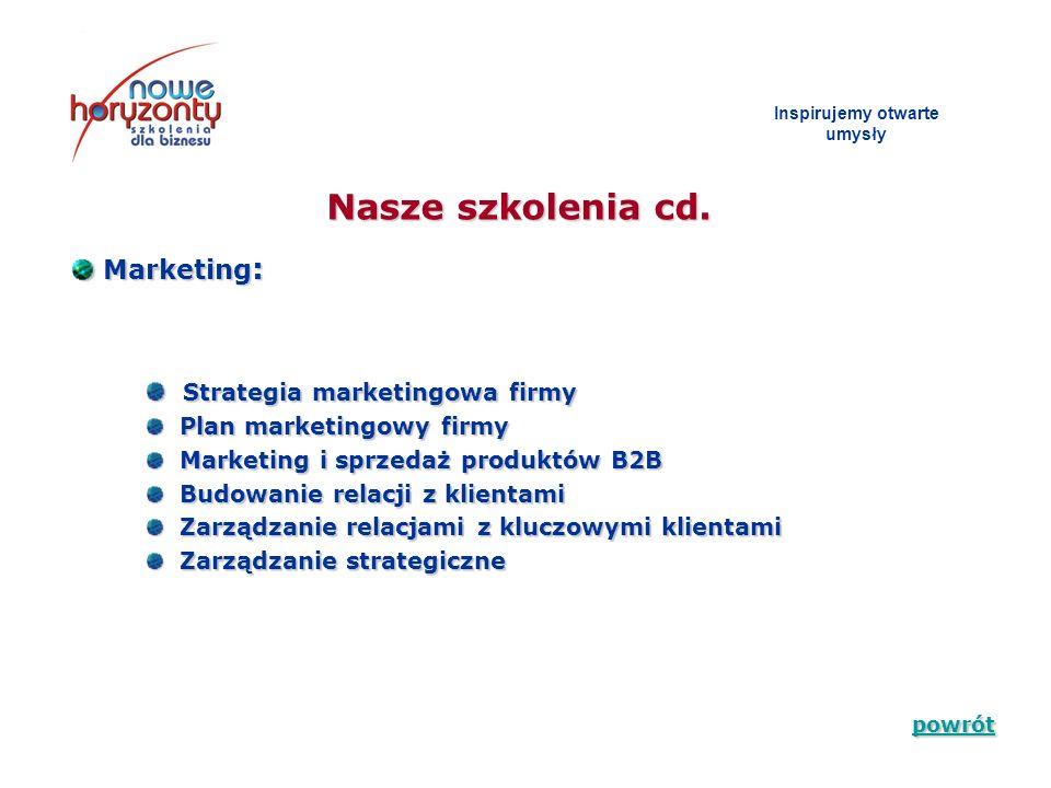 Inspirujemy otwarte umys ł y Zapraszamy do zapoznania się ze szczegółową ofertą naszych szkoleń i do współpracy Dziękujemy za czas poświęcony na zapoznanie się z prezentacją firmy Nowe Horyzonty – Szkolenia dla biznesu Wojewódzki Lider Biznesu 2007 _____________________________________ Nowe Horyzonty Szkolenia dla biznesu ul.