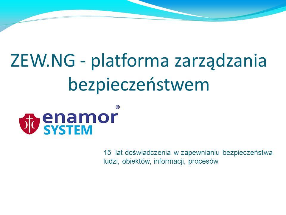 Integrator: systemów sygnalizacji pożaru (SSP), systemów alarmów o włamaniu i napadzie (SAWiN), systemów kontroli dostępu (SKD), systemów telewizji przemysłowej (CCTV), systemów automatyki budynku (BMS) innych systemów detekcji zagrożeń Platforma ZEW.NG wykorzystywana jest do zapewnienia bezpieczeństwa i ułatwienia administracji: nieruchomościami, pracownikami, dostawcami, mieniem oraz innymi zasobami organizacji.