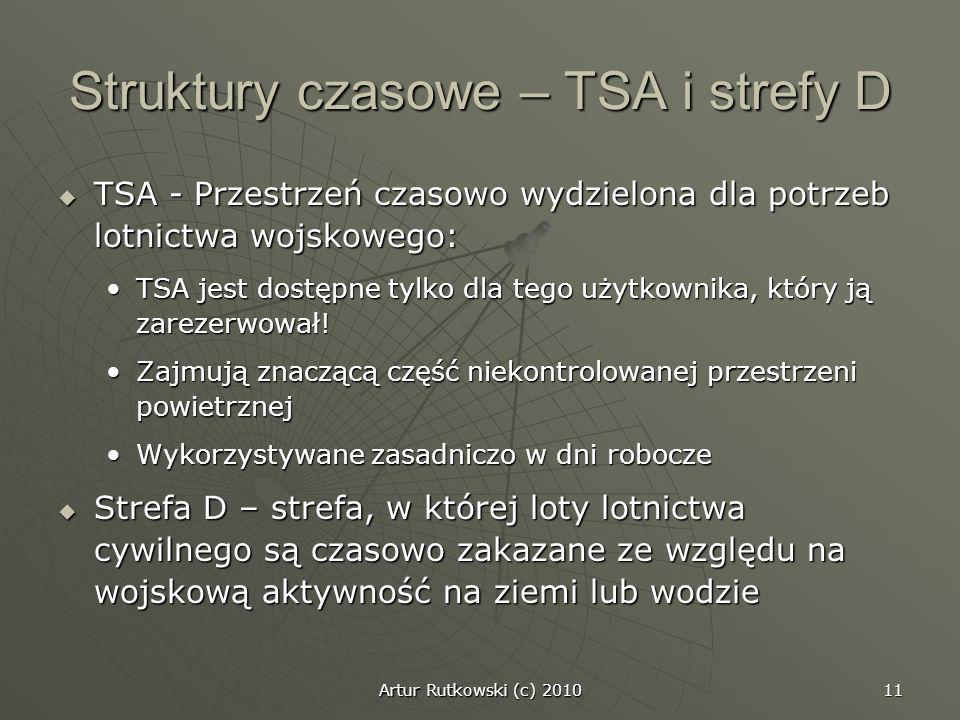 Artur Rutkowski (c) 2010 11 Struktury czasowe – TSA i strefy D TSA - Przestrzeń czasowo wydzielona dla potrzeb lotnictwa wojskowego: TSA - Przestrzeń