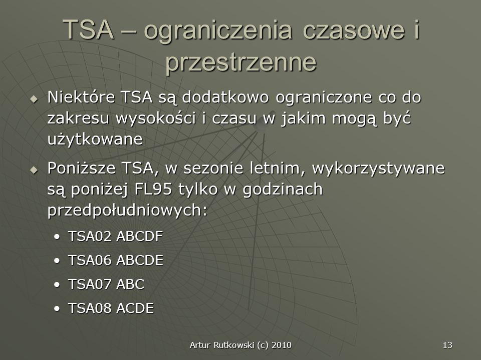 Artur Rutkowski (c) 2010 13 TSA – ograniczenia czasowe i przestrzenne Niektóre TSA są dodatkowo ograniczone co do zakresu wysokości i czasu w jakim mo