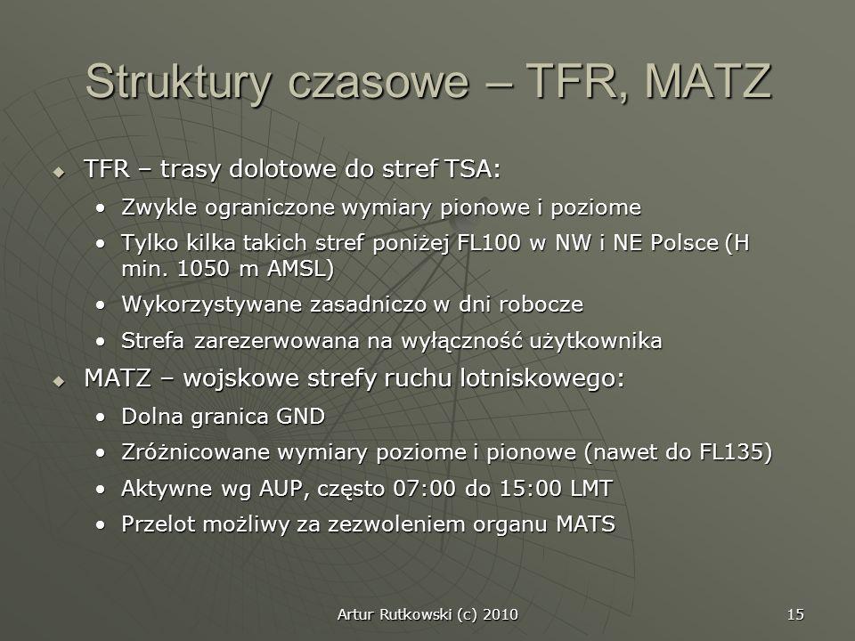Artur Rutkowski (c) 2010 15 Struktury czasowe – TFR, MATZ TFR – trasy dolotowe do stref TSA: TFR – trasy dolotowe do stref TSA: Zwykle ograniczone wym