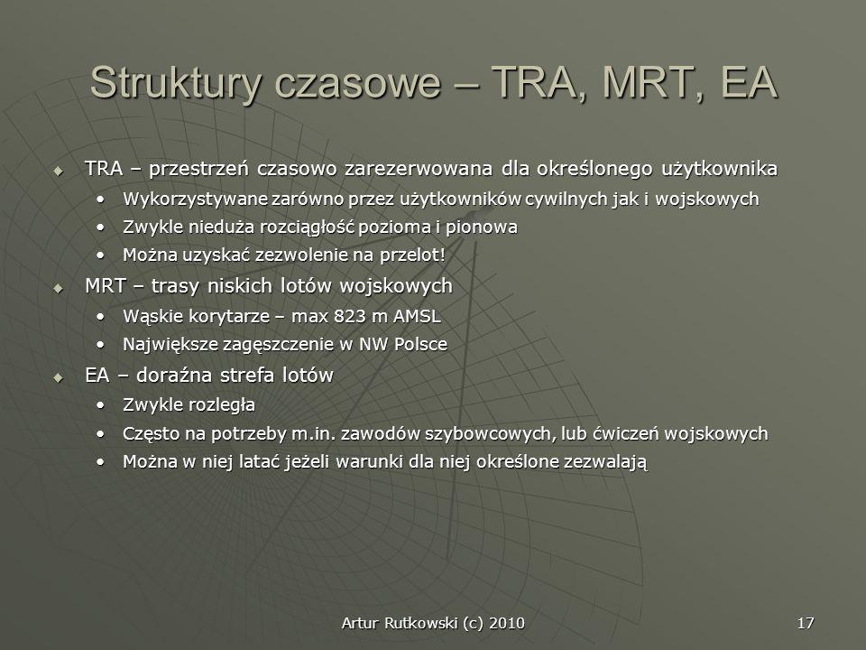 Artur Rutkowski (c) 2010 17 Struktury czasowe – TRA, MRT, EA TRA – przestrzeń czasowo zarezerwowana dla określonego użytkownika TRA – przestrzeń czaso