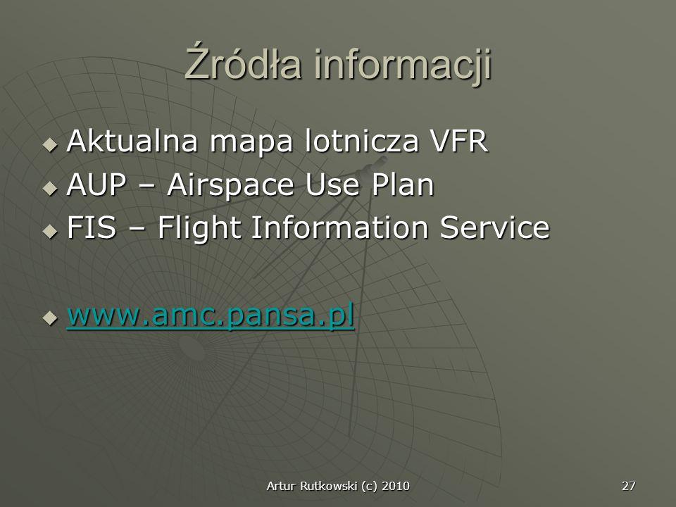 Artur Rutkowski (c) 2010 27 Źródła informacji Aktualna mapa lotnicza VFR Aktualna mapa lotnicza VFR AUP – Airspace Use Plan AUP – Airspace Use Plan FI