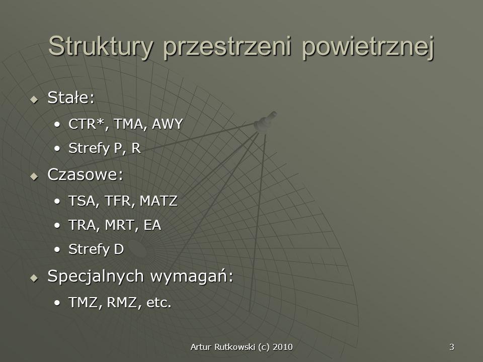 Artur Rutkowski (c) 2010 3 Struktury przestrzeni powietrznej Stałe: Stałe: CTR*, TMA, AWYCTR*, TMA, AWY Strefy P, RStrefy P, R Czasowe: Czasowe: TSA,