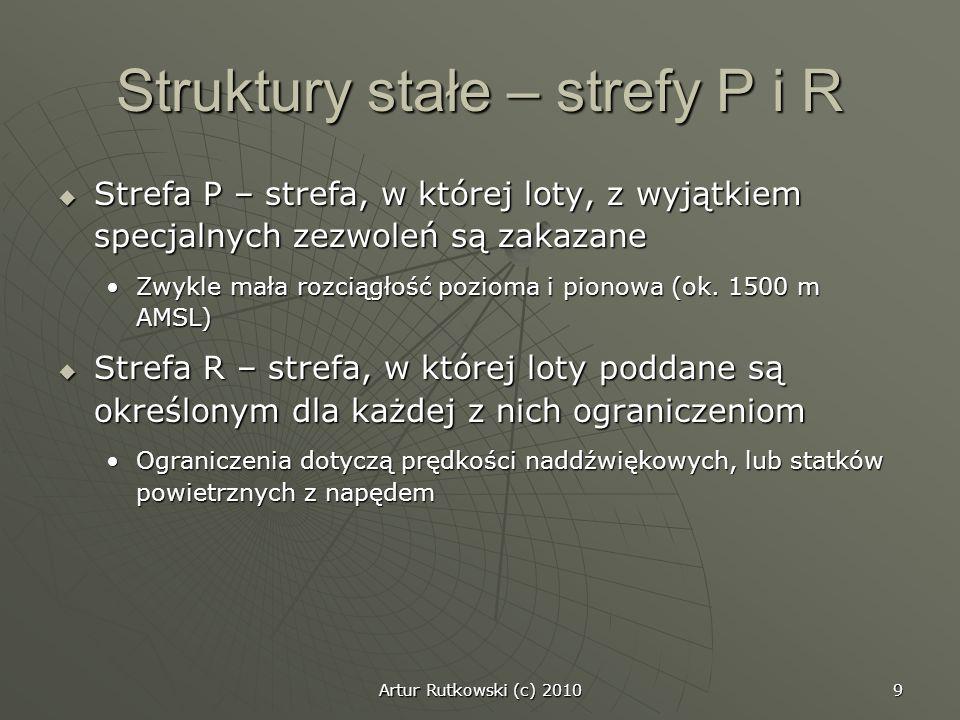 9 Struktury stałe – strefy P i R Strefa P – strefa, w której loty, z wyjątkiem specjalnych zezwoleń są zakazane Strefa P – strefa, w której loty, z wy