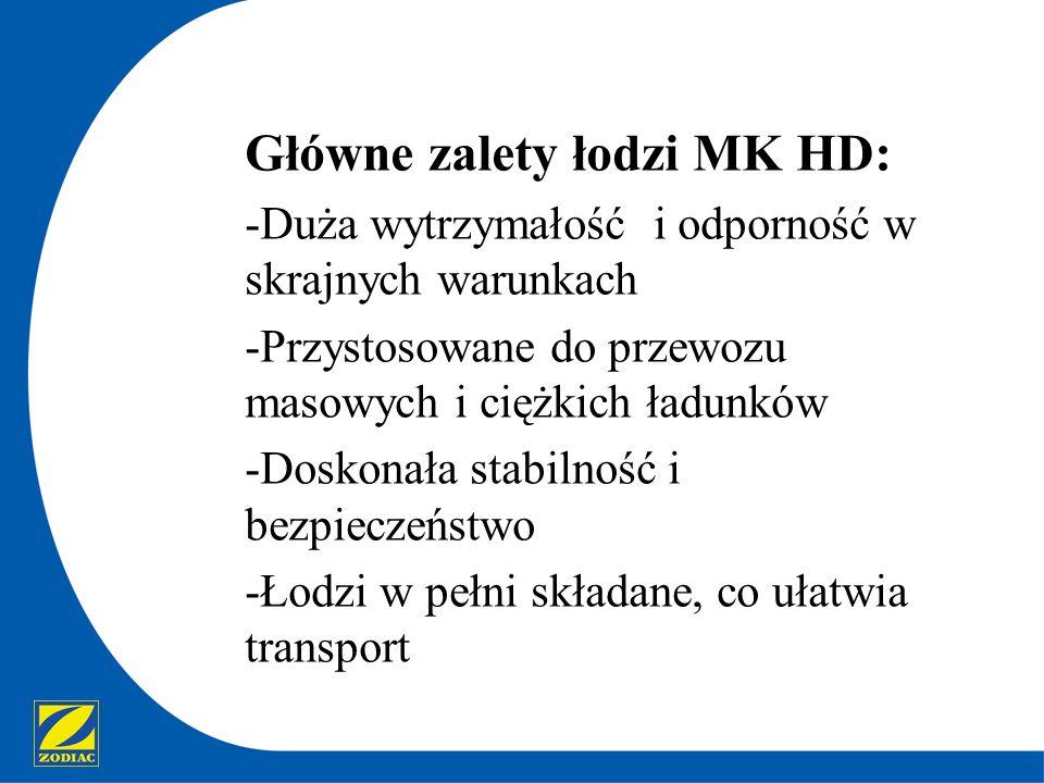 Główne zalety łodzi MK HD: -Duża wytrzymałość i odporność w skrajnych warunkach -Przystosowane do przewozu masowych i ciężkich ładunków -Doskonała sta
