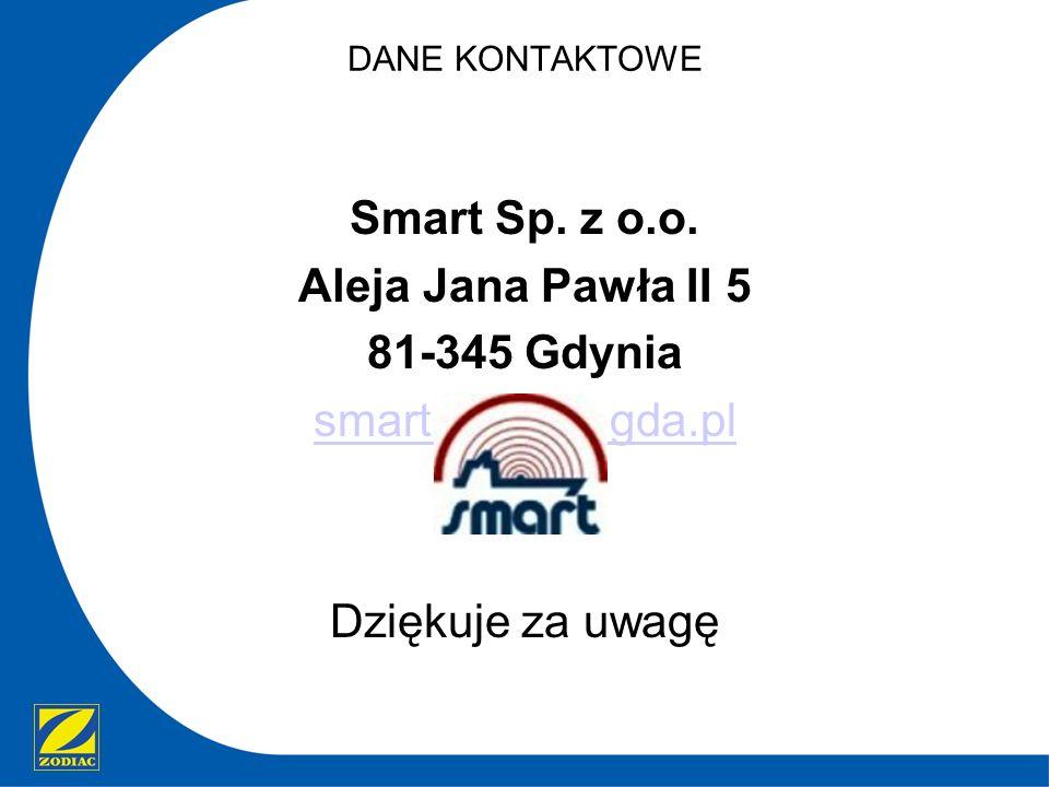 DANE KONTAKTOWE Smart Sp. z o.o. Aleja Jana Pawła II 5 81-345 Gdynia smart@smart.gda.pl Dziękuje za uwagę