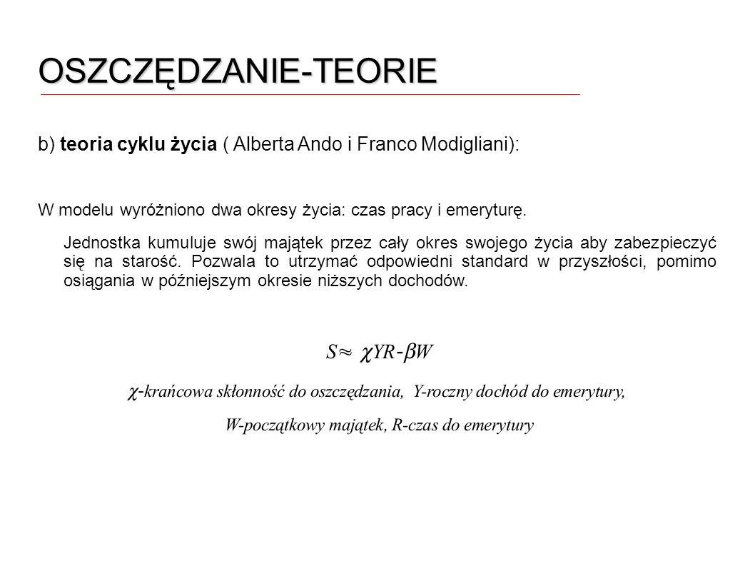 OSZCZĘDZANIE-TEORIE b) teoria cyklu życia ( Alberta Ando i Franco Modigliani): W modelu wyróżniono dwa okresy życia: czas pracy i emeryturę. Jednostka