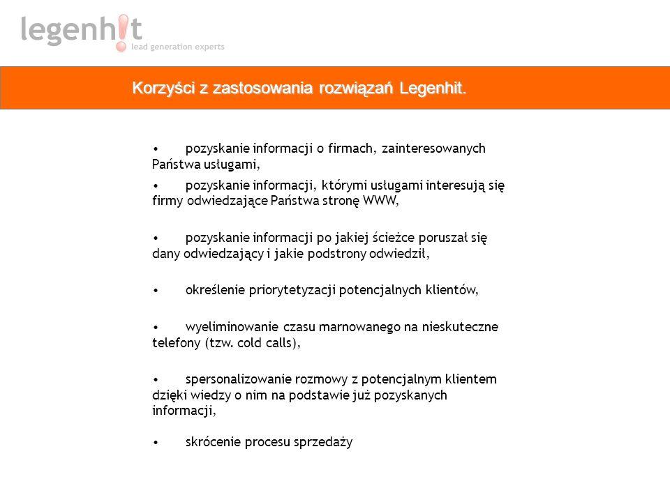 Korzyści z zastosowania rozwiązań Legenhit. pozyskanie informacji o firmach, zainteresowanych Państwa usługami, pozyskanie informacji, którymi usługam
