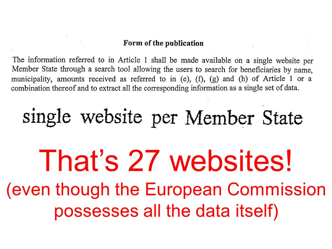 Thats 27 websites! (even though the European Commission possesses all the data itself)