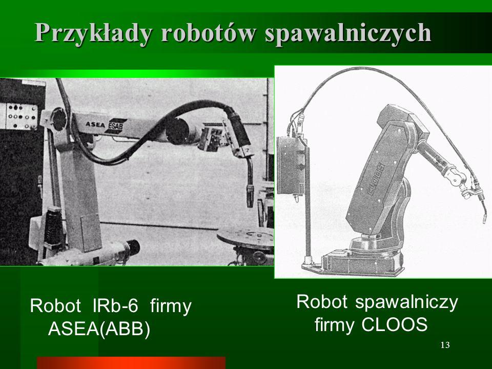 13 Przykłady robotów spawalniczych Robot IRb-6 firmy ASEA(ABB) Robot spawalniczy firmy CLOOS