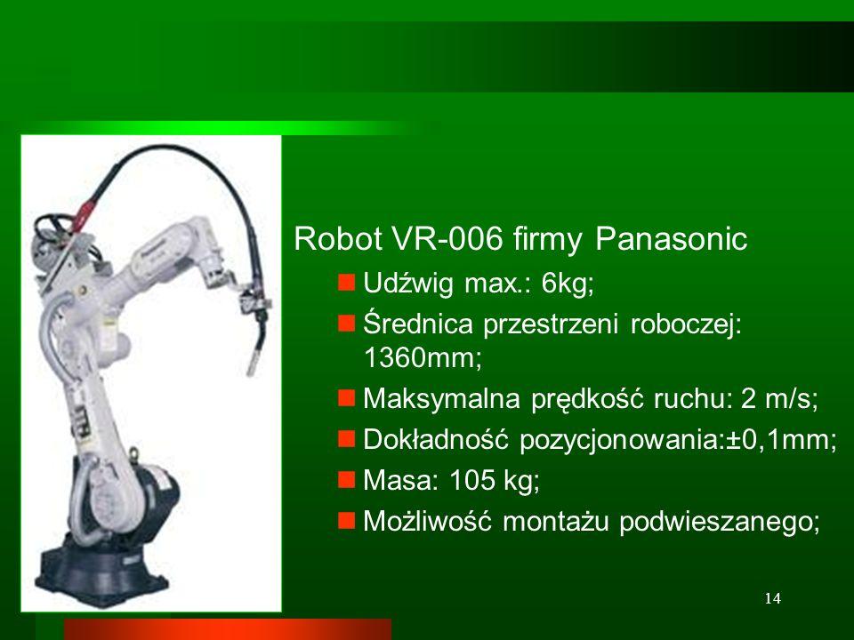 14 Robot VR-006 firmy Panasonic Udźwig max.: 6kg; Średnica przestrzeni roboczej: 1360mm; Maksymalna prędkość ruchu: 2 m/s; Dokładność pozycjonowania:±