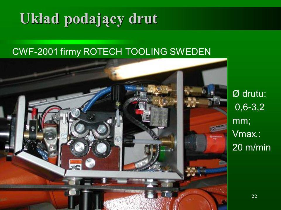 22 Układ podający drut CWF-2001 firmy ROTECH TOOLING SWEDEN Ø drutu: 0,6-3,2 mm; Vmax.: 20 m/min